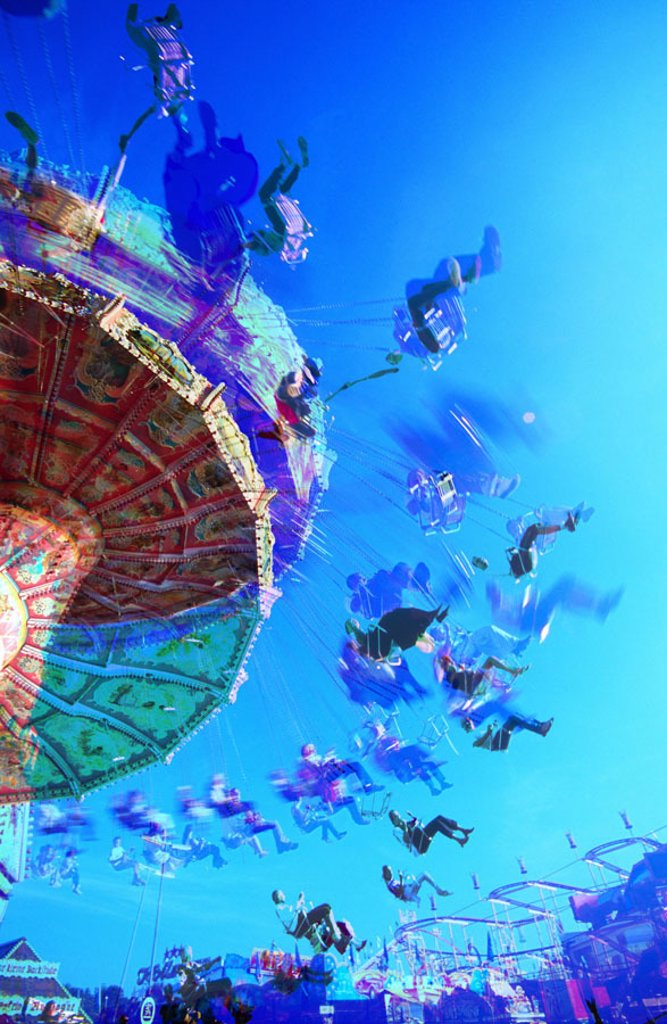 Germany, Upper Bavaria, Munich,  Oktoberfest,  carousel, movement, Detail, from below, verfremdet,  Bavaria, Wiesn, amusement park, driving shops, carousel, s, seat, spin, rotation, symbol, leisure time, fun, enjoyments, Fun, perspectives, sight, attracti : Stock Photo