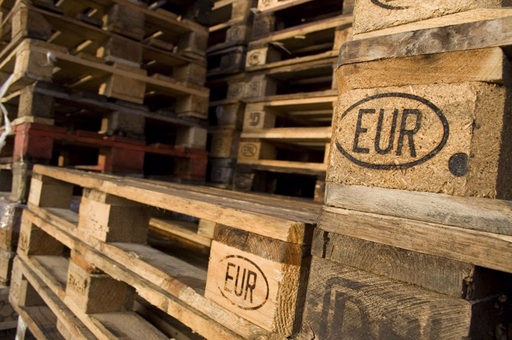 Europe Latvians, brands, EUR, stacked, detail,   Euro palettes, wood palettes, palettes, transportation plates, wood, freight units, uniformly, norm, norm size, transportation, standardized economy, transport system logistics transporting shipping camps, : Stock Photo