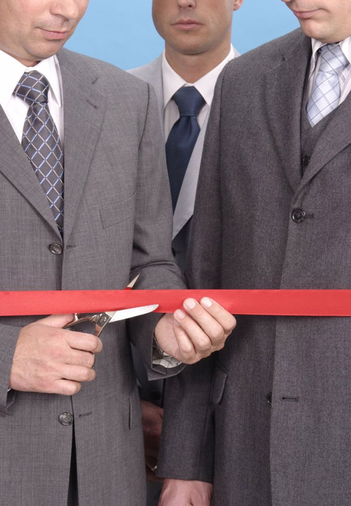 Stock Photo: 1558-101836 Businessmen, scissors, red bond, cuts through, symbolically, opening,   Business, ceremony, inauguration like ness, men, suit, politicians, officials, three, stand, solemnly, honor, officially, cuts apart, cuts, cuts, releases, Opening, re-opening, new op