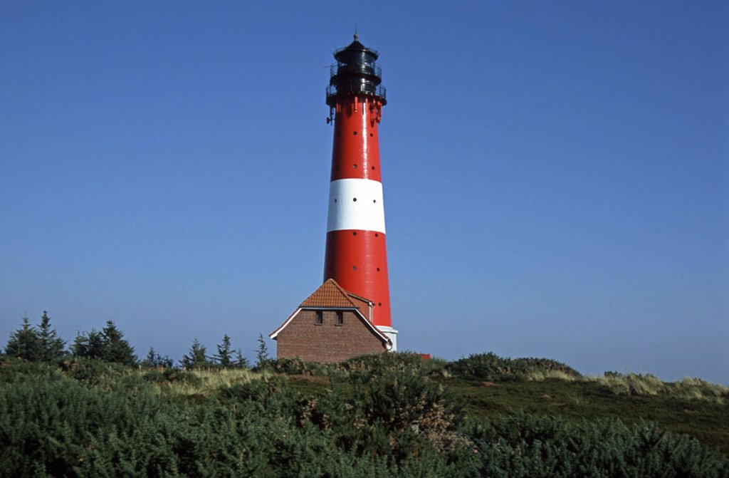 Stock Photo: 1558-102306 Germany, Schleswig-Holstein, island  Sylt, Hörnum, coast, lighthouse,   Northern Germany, North Frisian islands, North frieze country,  Tower, bearings fires, built sight 1907, Gusseisenturm, beacons, Seezeichen, navigation, shipping, guidance, navigation