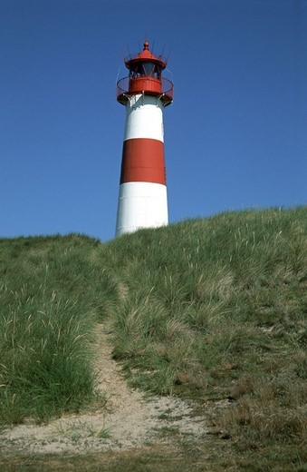 Germany, Schleswig-Holstein, island  Sylt, cunning, dune, cunning east lighthouse,   Northern Germany, North Frisian islands North frieze country elbows tower built 1852, beacons, beacon, bearings fires, beacons, Seezeichen, sight, symbol, navigation, shi : Stock Photo