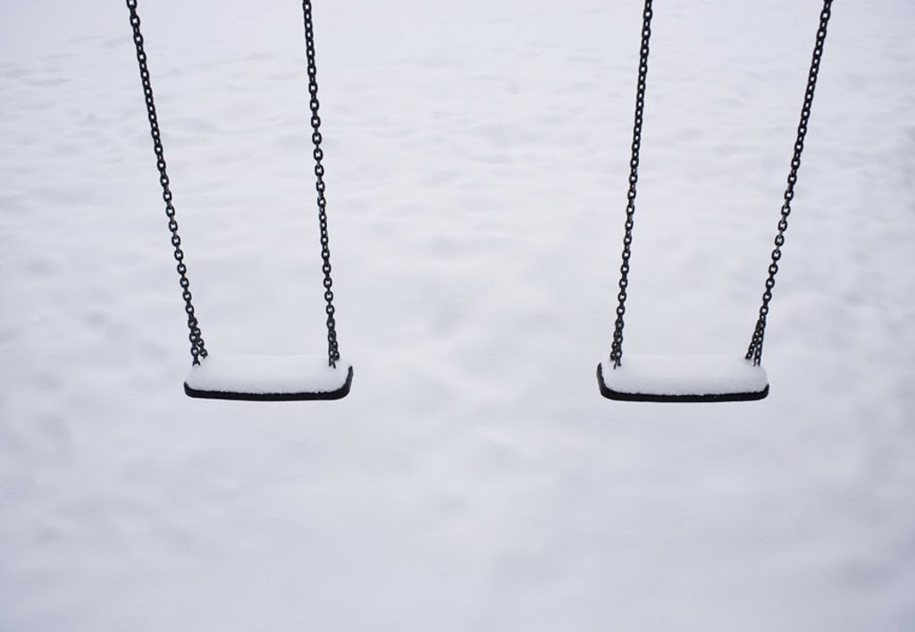 Playground, rolling, snow-covered, Winters,  Snowed in children´s game place, game appliances, abandoned, human-empty, nobody, season, snow, cold, symbol, childhood, childhood memory, outside, : Stock Photo