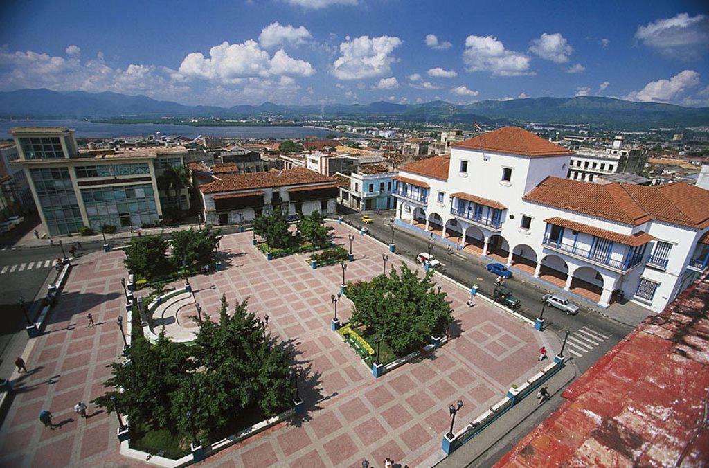 Cuba, Santiago de Cuba, Parque Cespedes, overview, Central America, province-capital, place, houses, buildings, right Ayuntamiento, street-scene, symbol, sight, destination, tourism, : Stock Photo