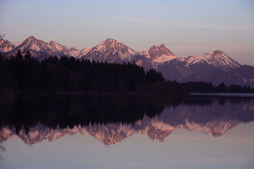Germany, Bavaria, Allgäu, ban-forest-sea, Tannheimer Alps, spring, morning-mood, Southern Germany, Ostallgäu, king-corners, landscape, highland-shaft, sea, water-surface, reflection, mountains, nature, human-empty, silence, silence, idylls, romanticism, n : Stock Photo