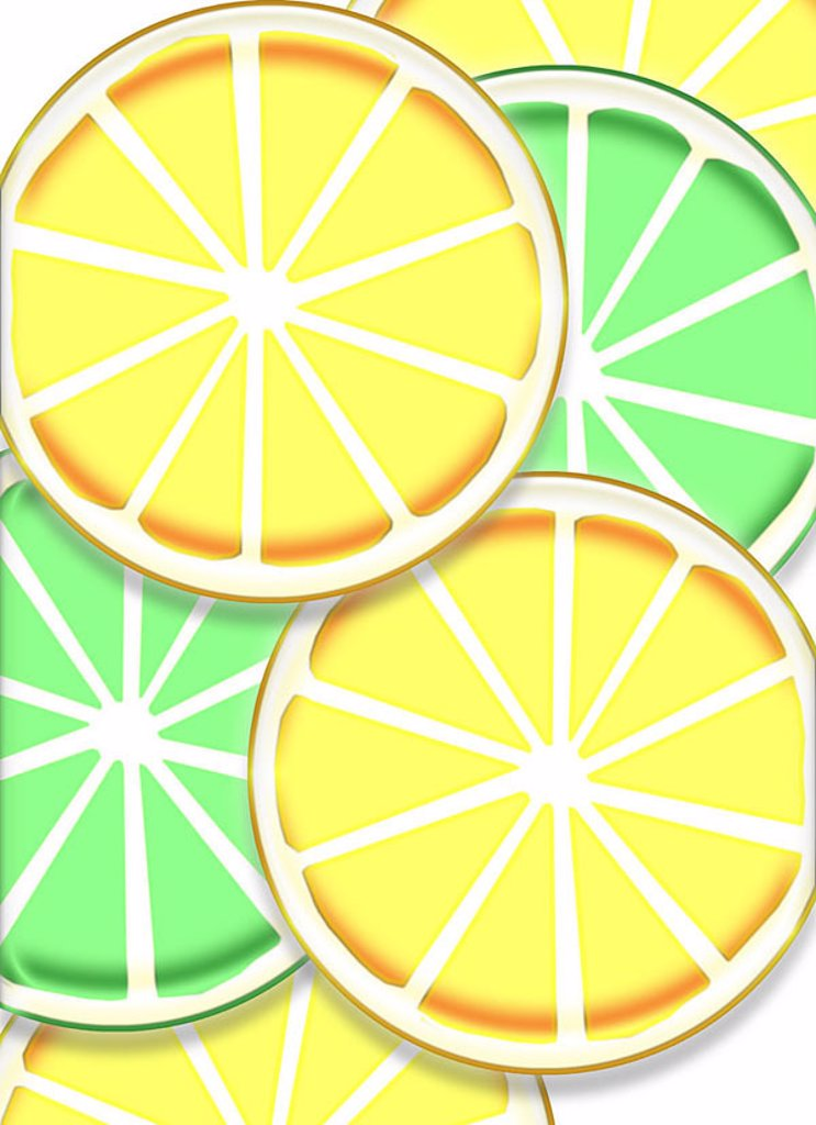 Illustration, lemon-disks, Limettenscheiben, detail, citrus fruits, fruit, fruits, South-fruits, bragged, cut, disks, yellow, concept, sour, vitamin-rich, healthy, vitamin C, vitamins, yellow, green, : Stock Photo