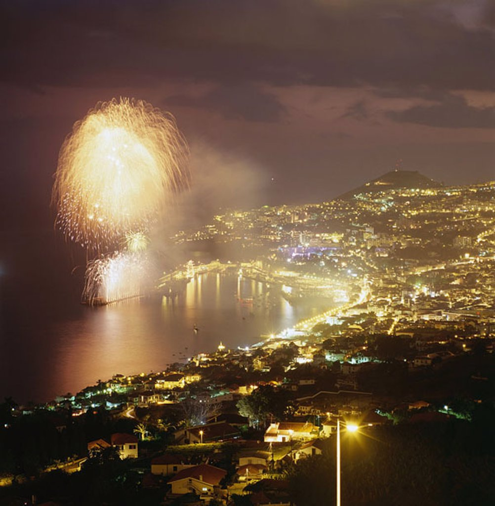 Stock Photo: 1558-109922 Portugal, island Madeira, Funchal, city-overview, sea, fireworks, night, Europe, island-group, Atlantic, South-coast, coast, capital, city, Marina, overview, Lichtermeer, pyrotechnics, light-effects, party, celebration, evening,