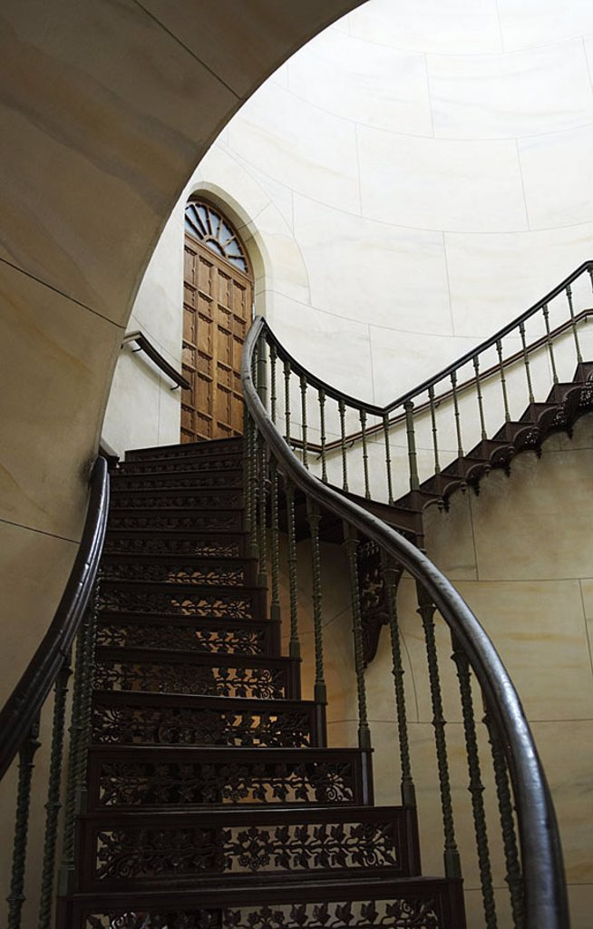 Stock Photo: 1558-111588 Helix-stairway, ascent, podium, wall, steps, door, hand-rails, cast-iron, Germany, Mecklenburg-Western Pomerania, reprimands, Granitz, hunt-palace, 04/2006