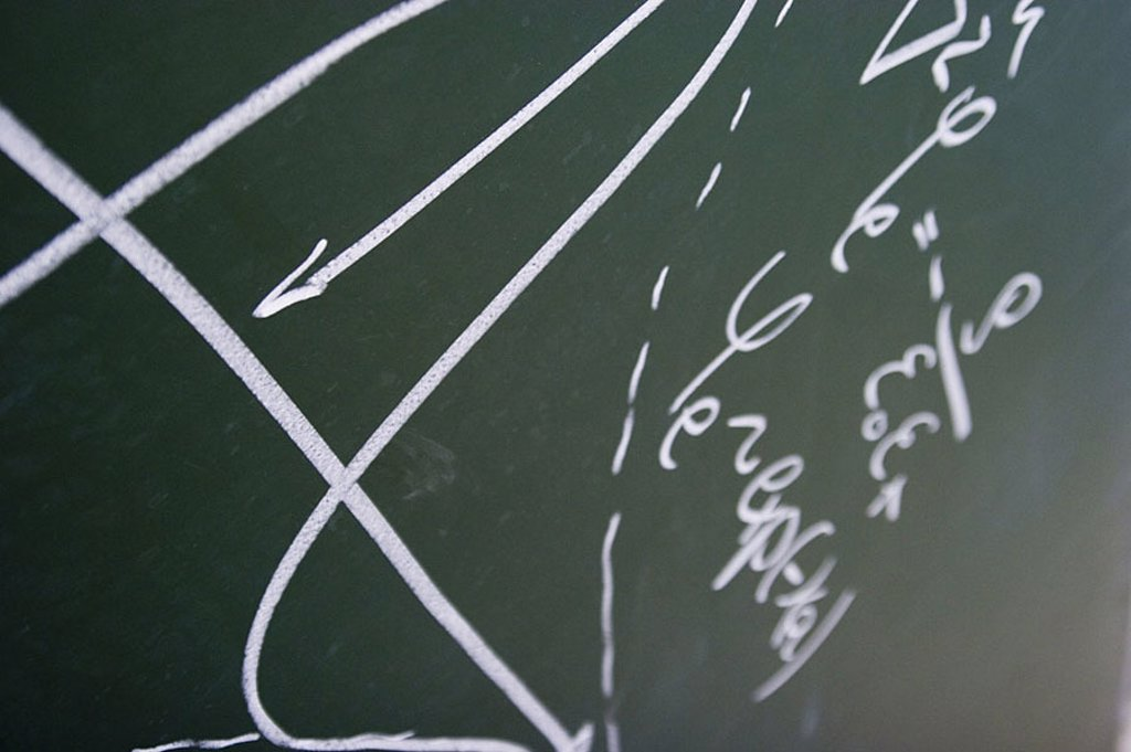 Stock Photo: 1558-111827 Blackboard, drawing, formulas, Nanotechnologie, fuzziness, broached university, study school instruction research school, science, coordinate-system, parables, mathematics, knowledge, intelligence, science,