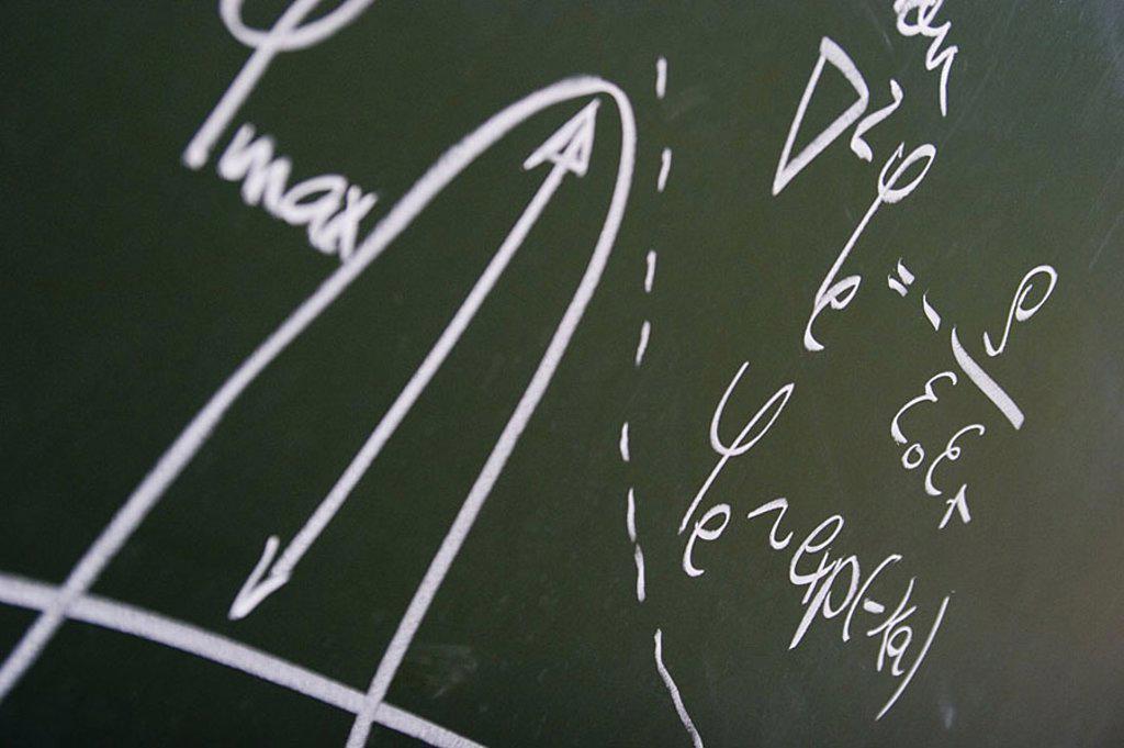 Blackboard, drawing, formulas, Nanotechnologie, university, broached study, school instruction research school science, coordinate-system, parables, mathematics, knowledge, intelligence, science, : Stock Photo