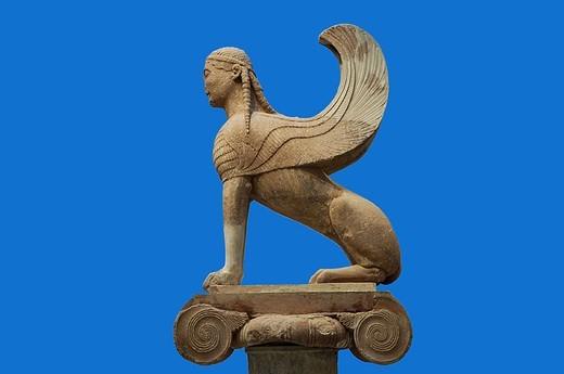 Greece, Delphi, museum, statue, sphinx of the Naxier, Europe, mainland, sight, art, culture, exhibit, exhibit, figure, sculpture, sculptor-art, historic, antique, quietly life, background blue, : Stock Photo