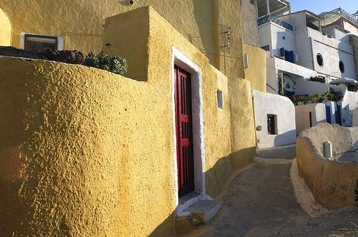 Stock Photo: 1558-113412 Greece, Kykladen, island Santorin, Oia, alley, houses, Europe, Mediterranean-island, coast-region, style, regional-typically, architecture, residences, differently, way, narrowly, human-empty,