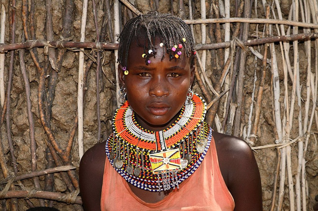 Kenya, Turkana-Frau, models no release, series, people, nomads, neck-jewelry, portrait, nomad-people, shepherd-nomads, people, trunk, Turkana-Stamm, Turkana, tribe, nilohamitisch, African, people of color, Africa, North-Kenya, woman, young, jewelry, neckl : Stock Photo