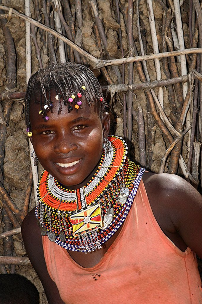 Stock Photo: 1558-113683 Kenya, Turkana-Frau, models neck-jewelry, portrait, no release, not freely f  Magazine titles of 02/07 rb/14 11 06 strings, Africa, North-Kenya, people, nomads, nomad-people, shepherd-nomads, people, trunk, tribe, nilohamitisch, Turkana-Stamm, Turkana, Af