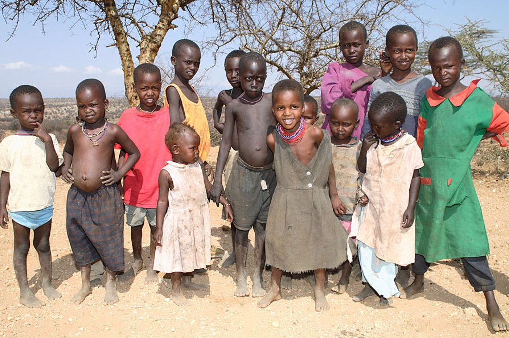 Kenya, Turkana-Kinder, group-picture, no models Africa, North-Kenya, people, nomads, release, series, nomad-people, shepherd-nomads, Turkana-Stamm, Turkana, people, trunk, tribe, nilohamitisch, Africans, people of color, children, boys, girls, barefoot, g : Stock Photo
