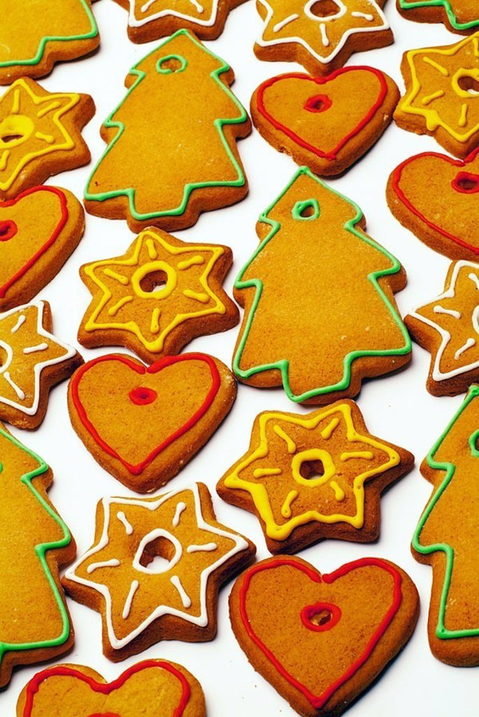 Gingerbread-figures, decorates, frosting, colorfully, Christian-tree-jewelry, Christmas-bakery, forecastle-merchandise, gingerbreads, pastries, fine-pastries, candies, sweetly, forms, baked motives, glaze Christmas-motives differently, decorates, frosting : Stock Photo