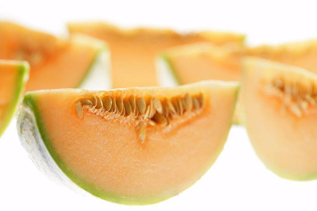 Stock Photo: 1558-117100 Honey-melon, bragged, piece, series, fruit, fruits, South-fruits, melons, melon-kind, sugar-melons, Cucumis melo, pumpkin-plants, pulp, orange, food, symbol, vitamin-rich, fresh, juicy, healthy, fruity, fact-reception,