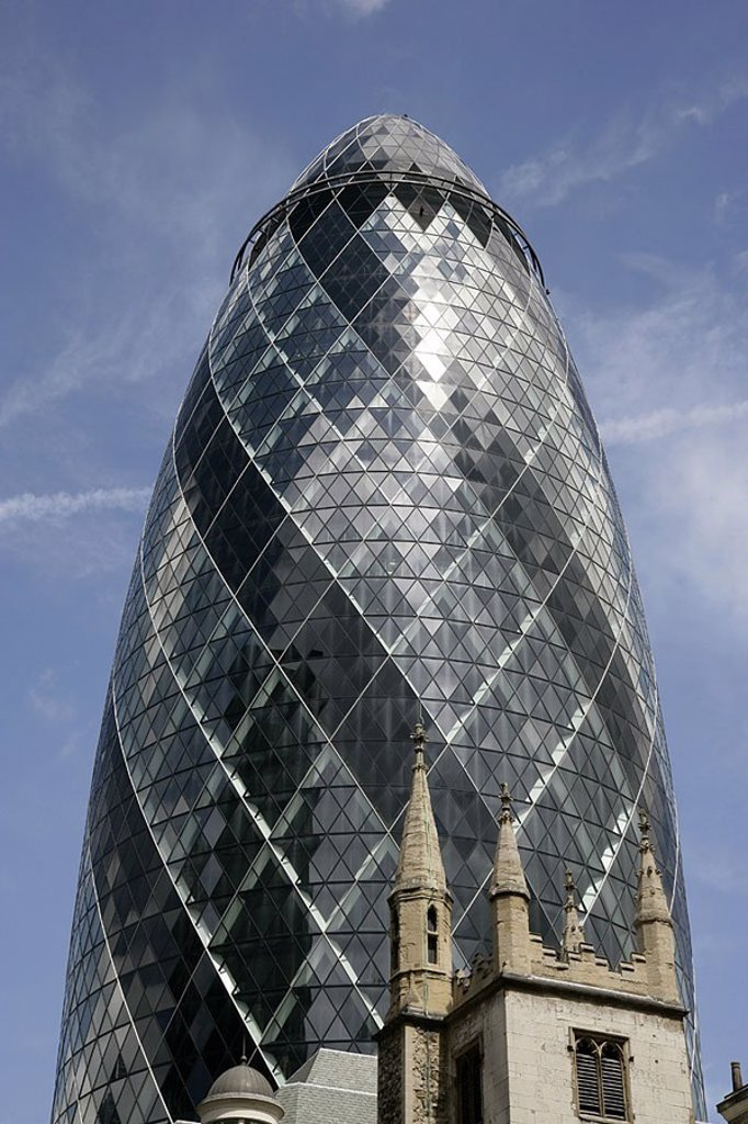 Great Britain, England, London, Swiss-Re-Tower, : Stock Photo