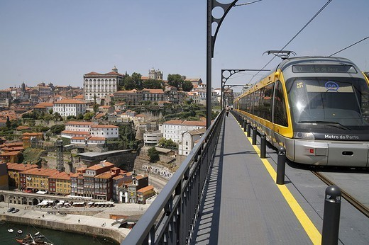 Portugal, postage, old part of town Ribeira, Ponte de cathedral Luis I, streetcar, : Stock Photo