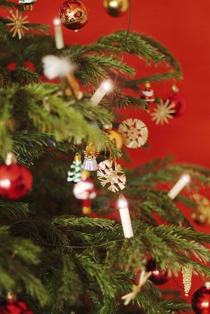Christmas, Christian-tree, close-up, fir-branches, Christian-tree-balls, straw-stars, Christian-tree-candles electrically, fir-tree, detail, branches, decorated, decoration, ornament, Christian-tree-jewelry, tree-jewelry, balls, Dekokugeln, glass-figures, : Stock Photo