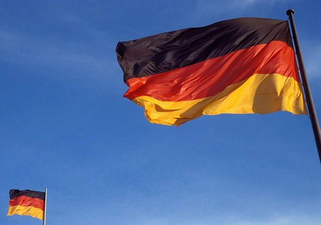 Germany, ensigns, two, wind, flagpole, blows masts, flags flags national-flags ensigns Germany-flags, black-red-gold, national-colors, concept, home, homeland, national-pride, patriotism, patriotism, fact-reception, heavens cloudless, : Stock Photo