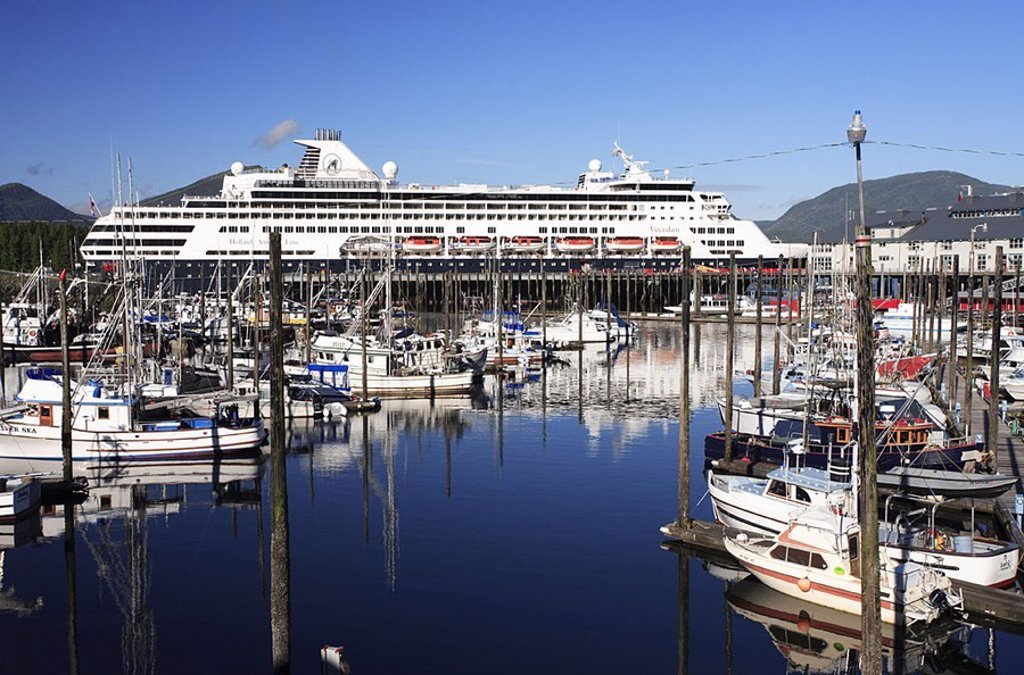 Stock Photo: 1558-123181 USA, Alaska, Alexander-archipelago, Revillagigedo Iceland, Ketchikan, harbor, landing place, boats, liner, North America, southeast-Alaska, southeast, island, coast, Inside passage, Alaska-Panhandle, Ketchikan Gateway Borough, sea, Pacific, fishery, fishe