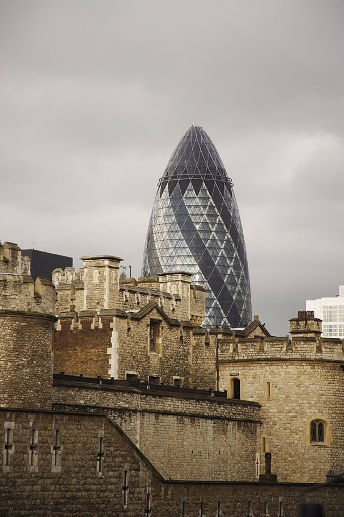 Stock Photo: 1558-124011 Great Britain, England, London, tower of London Gherkin detail, no property release, Europe, capital, high-rise, insurance-buildings buildings construction office buildings tower height 179,80 m, approximately, glass-facade, architecture, styles, contrast