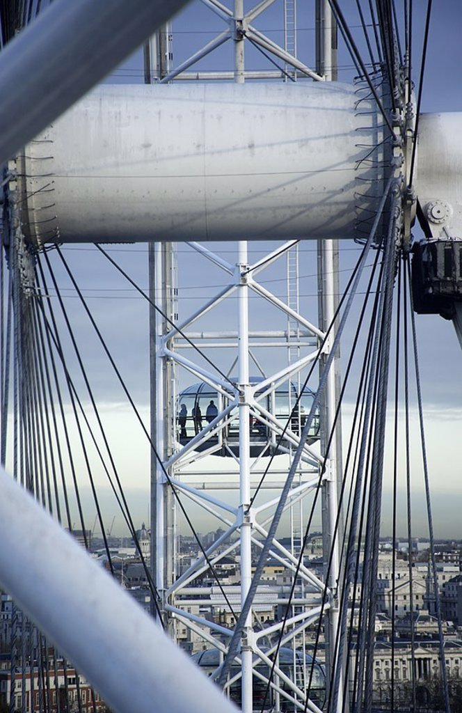 Great Britain, England, London, Eye of London, gondola, detail, no property release, series, Europe, city, capital, city, sight, landmarks, giant-wheel, construction, cubicle, people, passengers, city-overview, sightseeing, city-dweller-ice, : Stock Photo