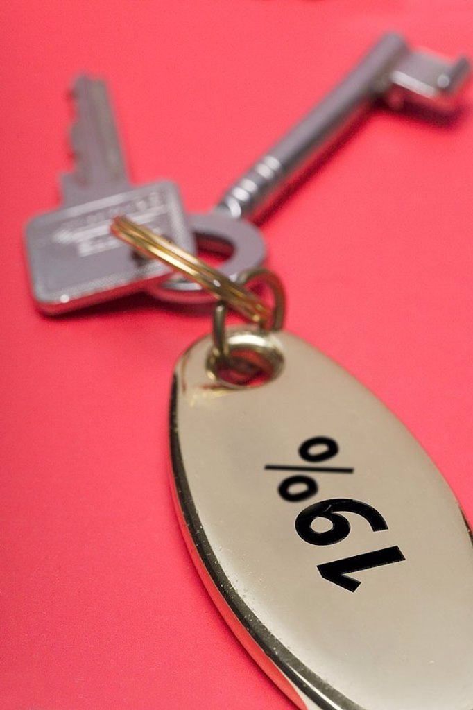 Keys, supporters, 19 percent MWST, broached, fuzziness, hotel, hotel-keys, room keys, key-association, taxes, tax office, value added tax-increase, value added tax, hint, concept, surcharge, lapel, economy, finances, taxes, net-sales tax, 19 percent, incr : Stock Photo
