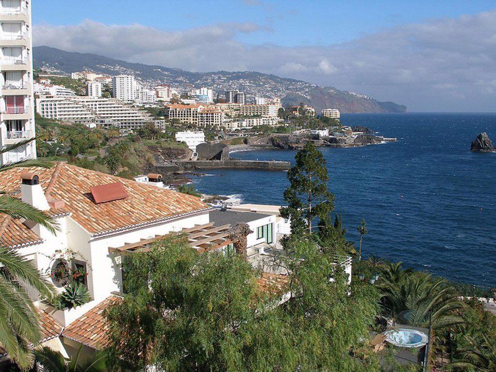 Portugal, island Madeira, coast, Camara de Lobos, city-opinion, gaze Funchal sea Europe coast-landscape outlook, city, houses, hotels, Meeresküste, Atlantic, summers, : Stock Photo