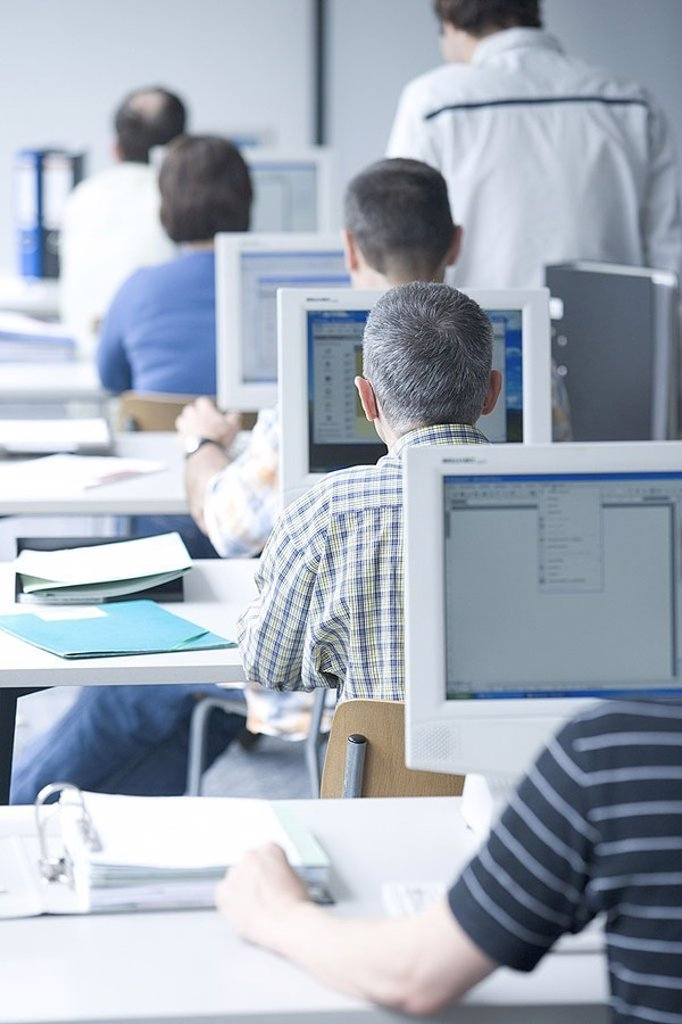 People, computers, training, job, open-plan office, data input, men, work, occupation, internet, screen, monitor, computer-work, advanced training, further education, retraining, back-opinion, sits, : Stock Photo