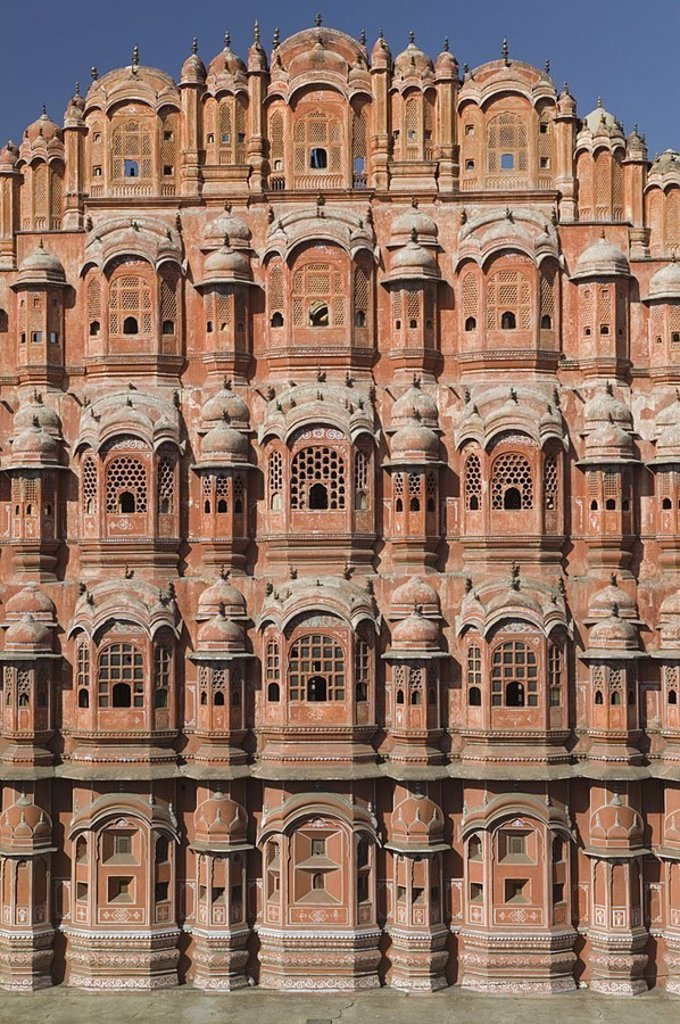India, Rajasthan, Jaipur, Hawa Mahal, Asia, South-Asia, city, destination, sight, landmarks, palace of the winch, construction, buildings, builds architecture, facade, bay windows, windows, 1799, architecture, outside, human-empty, : Stock Photo
