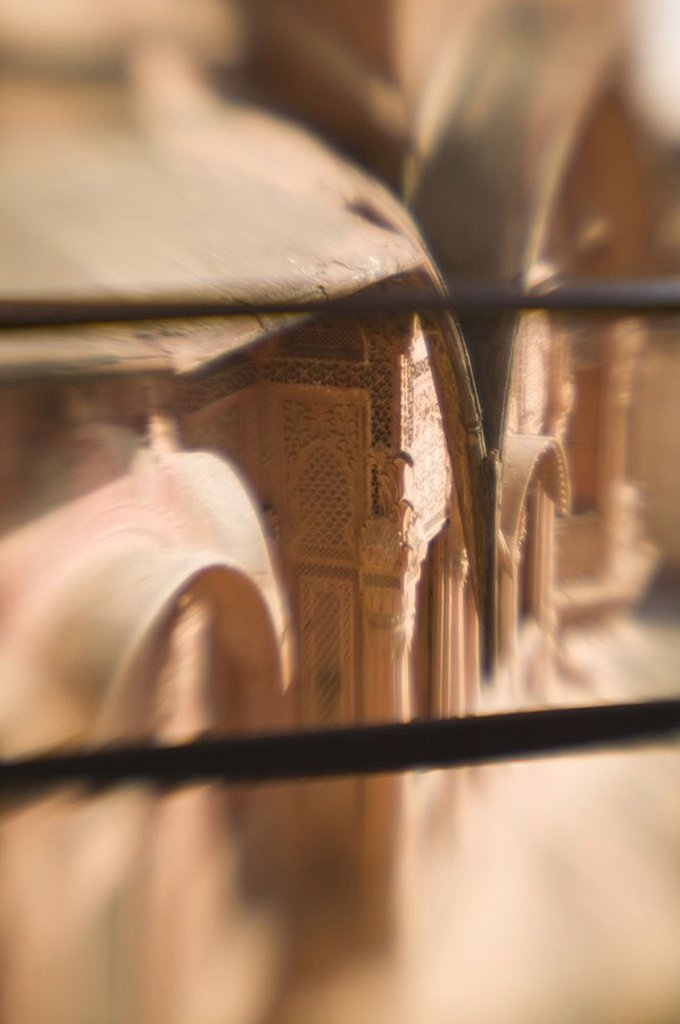 India, Rajasthan, Jodhpur, Meherangarh fort, facade, detail, fuzziness, Asia, South-Asia, destination, sight, buildings, architecture, construction, architecture, become blurred, : Stock Photo