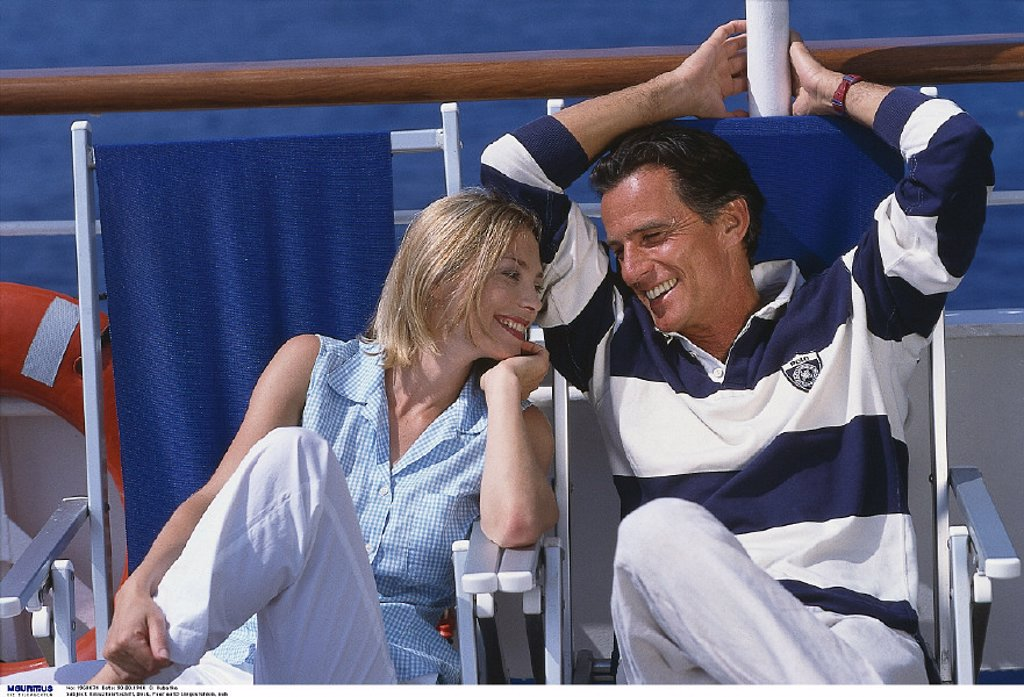 Couple, Deck chairs, Ship : Stock Photo