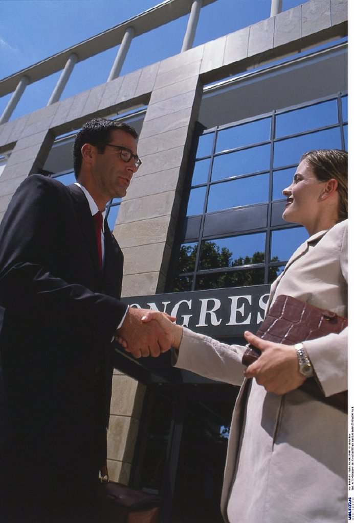 Manager, Businesswoman, Building, Handshake : Stock Photo