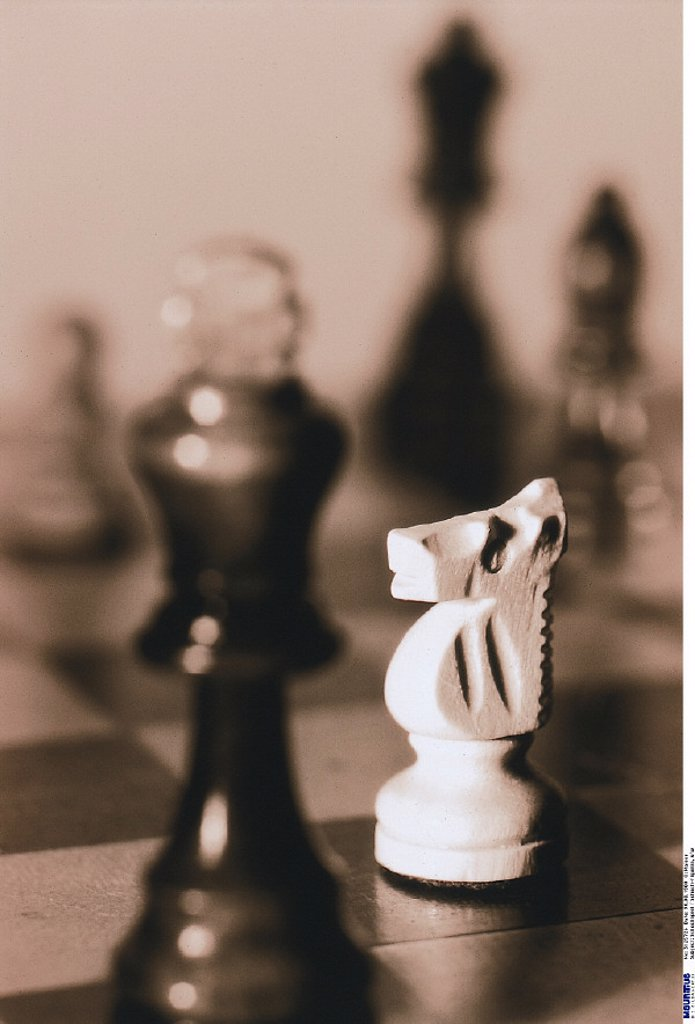 Game of chess, Chess pieces, b/w : Stock Photo