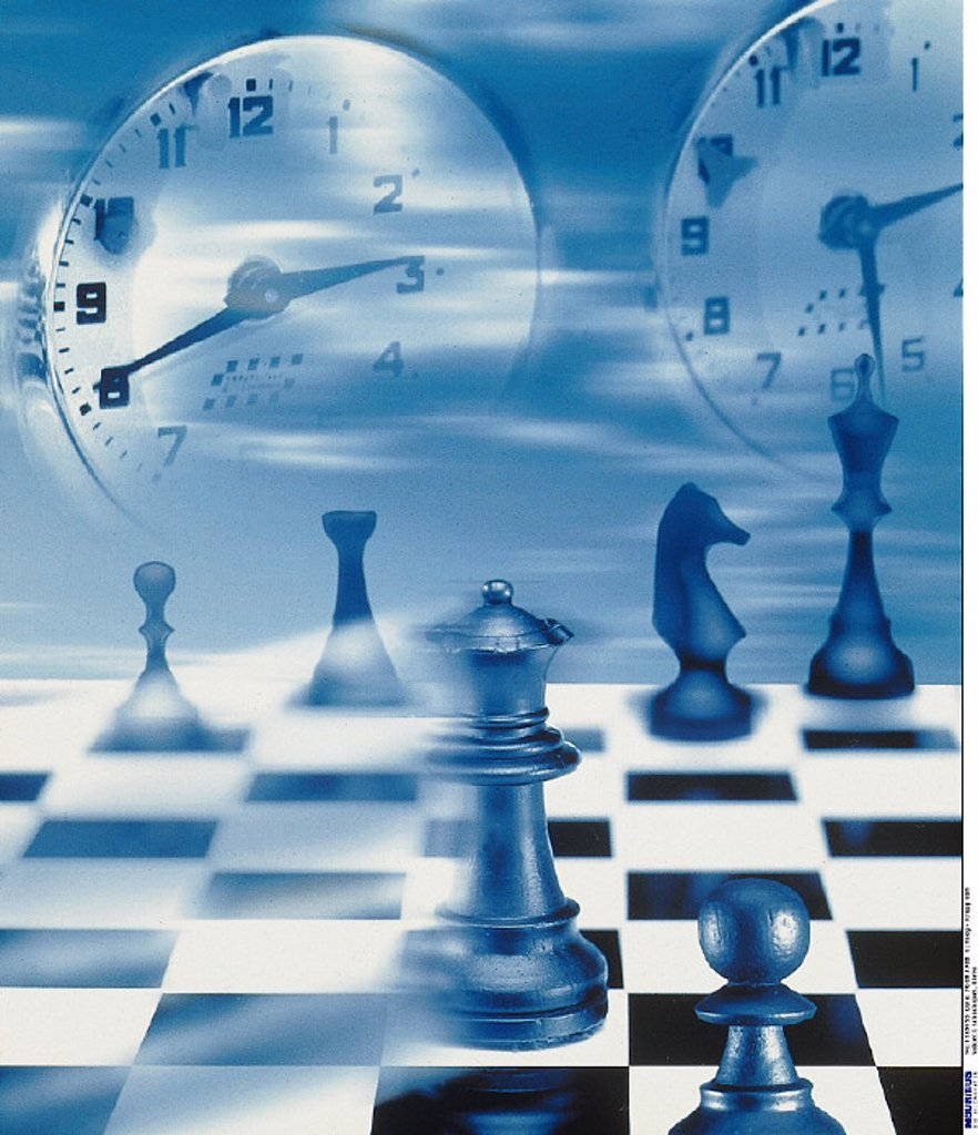 Game of chess, Clocks : Stock Photo