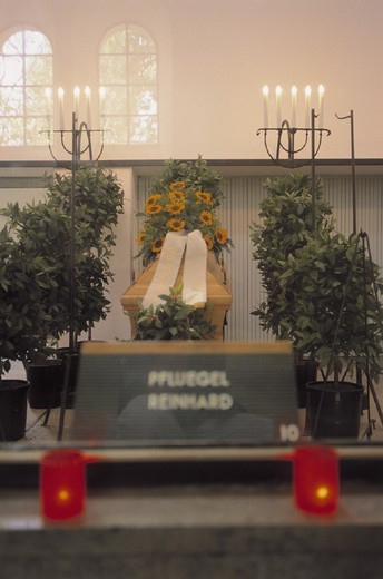 church, coffin, candles : Stock Photo