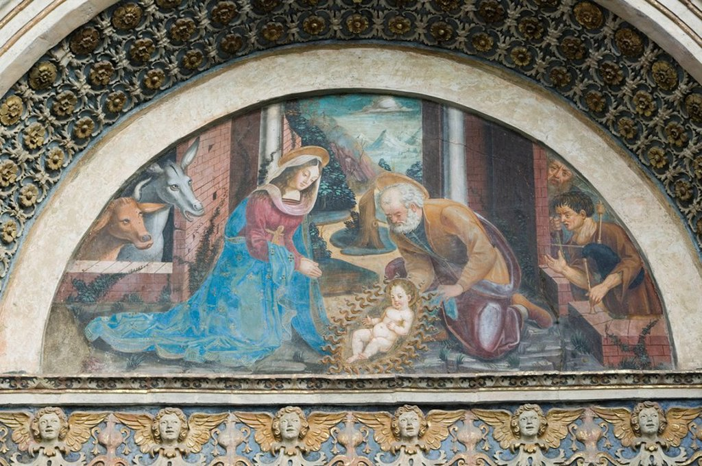 Stock Photo: 1558-131582 Italy, Valle d´Aosta, Aosta, cathedral Santa Maria Assunta painting detail Aostatal sight, belief, religion, Christianity, Lord´s house, sacral-construction 12  cent , outside, murals, religion-history, Bible-history, Christmas-history, manger, Maria, Jos. Italy, Valle d´Aosta, Aosta, cathedral Santa Maria Assunta painting detail Aostatal sight, belief, religion, Christianity, Lord´s house, sacral-construction 12  Jh , outside, murals, religion-history, Bible-history, Christmas-history, manger,