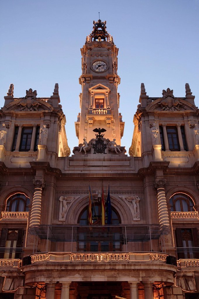 Spain, Valencia, Plaza Del Ayuntamiento, town hall, twilight, city, town hall-place, construction historically, town hall-tower, clock-tower, tower, illumination, festively, fairy lights, sight, nobody, outside,. Spain, Valencia, Plaza Del Ayuntamiento, town hall, twilight, city, town hall-place, construction historically, town hall-tower, clock-tower, tower, illumination, festively, fairy lightsn, sight, nobody, outside, : Stock Photo