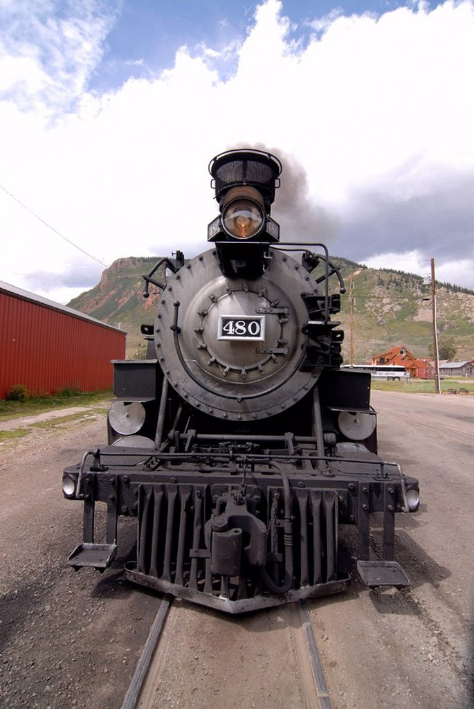 USA, Colorado, Silverton, railway station, steam-locomotive, front-opinion, North America, track, stop, loco, steam-loco, old, historically, Oldtimer, symbol, rail-traffic, means of transportation, railroad, train, train connection, transportations, attra. USA, Colorado, Silverton, railway station, steam-locomotive, front-opinion, North America, track, stop, loco, steam-loco, old, historically, Oldtimer, symbol, rail-traffic, means of transportation, railroad, train, Zugverbindung, transportatio : Stock Photo