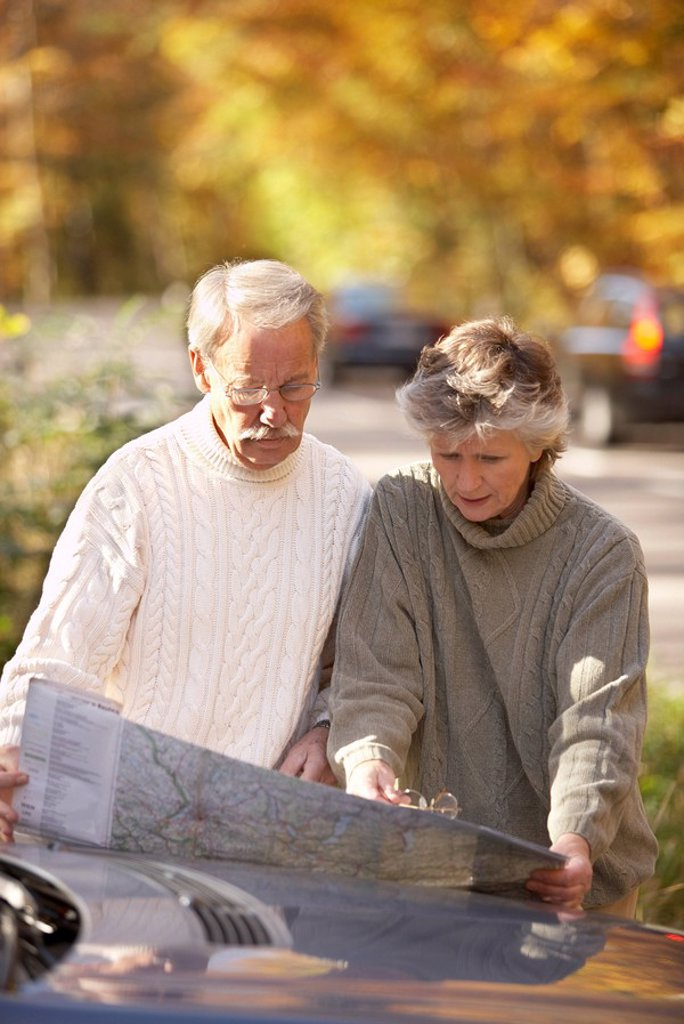 Stock Photo: 1558-133778 Country road, roadside, senior couple, car, detail, itinerary, reading, together, semi-portrait autumn pension, people, 66 years, 60-70 years, seniors, two, pair, couple, age, well Age, grey-haired, fit, nimbly, concentrates, harmony, balance, mutuality,