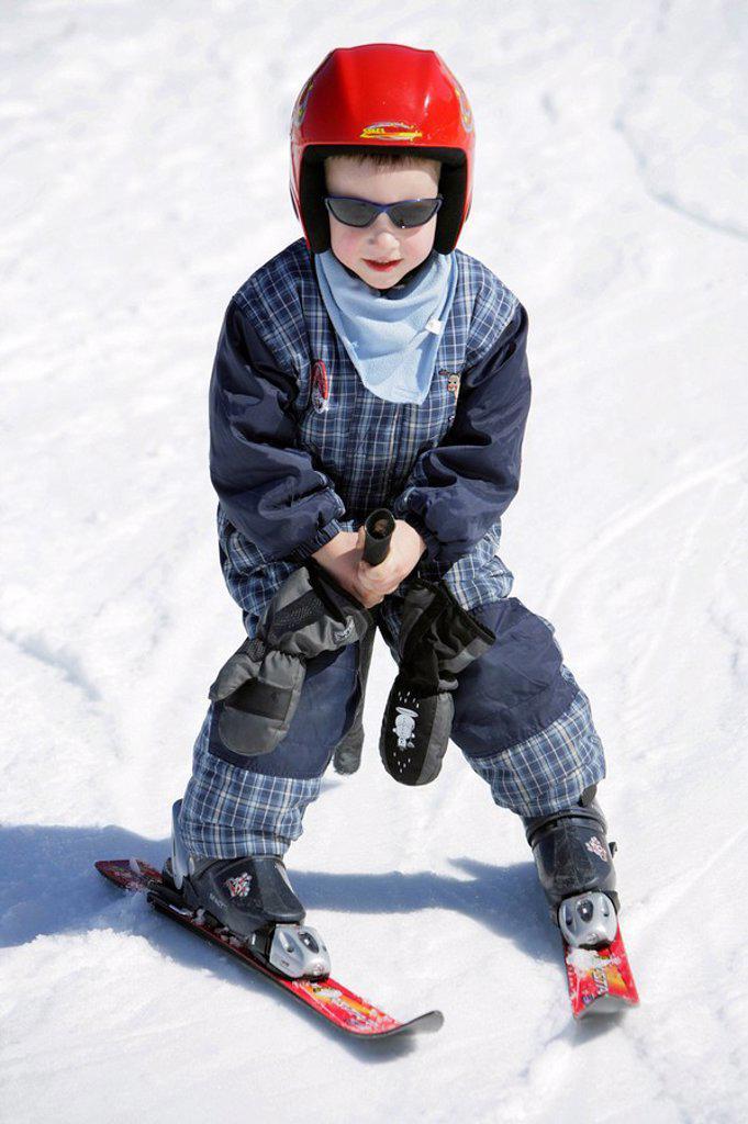 Child, ski course, ski-track, departure, : Stock Photo