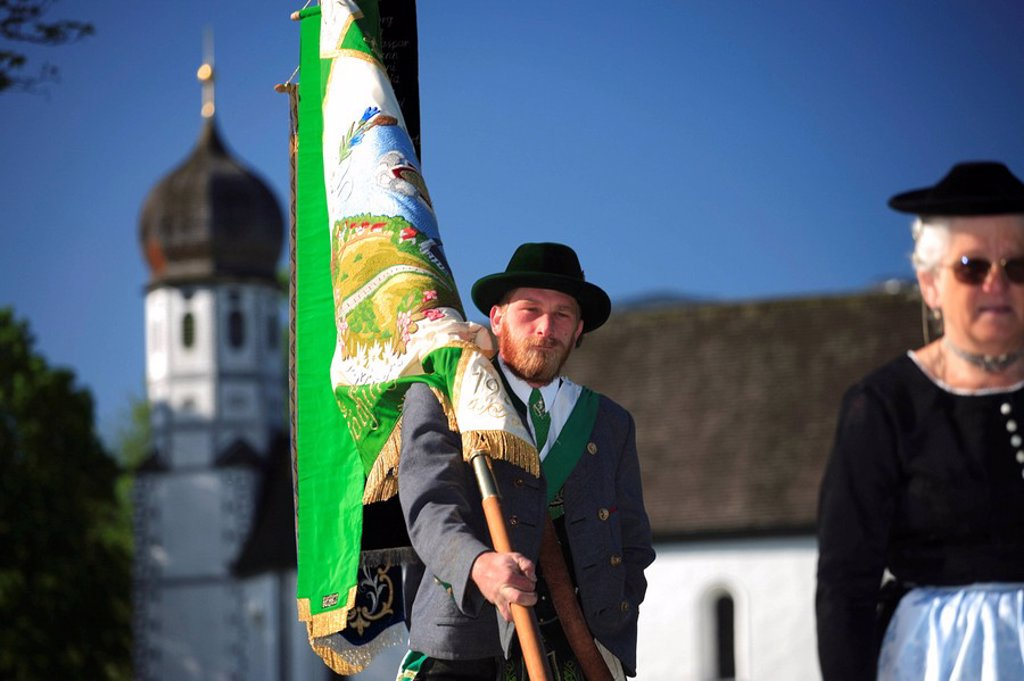 Stock Photo: 1558-134430 Germany, Bavaria, Fischbachau, Feast of Corpus Christi-day, traditional costum-pilgrimage, pilgrims, standard-bearers, no models release, Upper Bavaria, Leitzachtal, Feast of Corpus Christi-procession, pilgrimage, pilgrimage-destination birch-stone people
