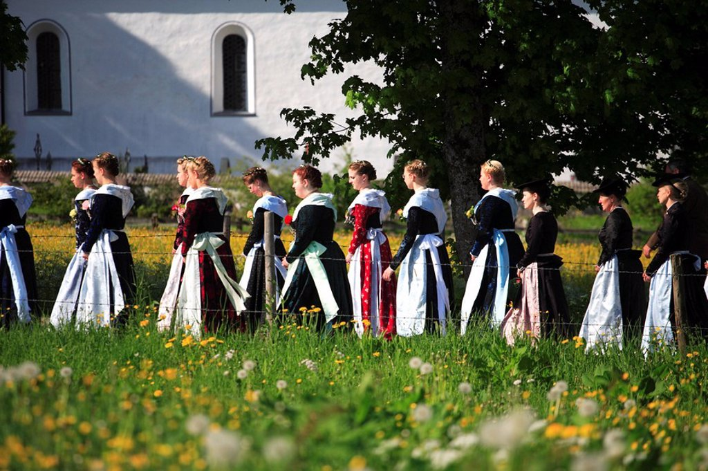Germany, Bavaria, Fischbachau, Feast of Corpus Christi-day, traditional costum-pilgrimage, pilgrims, women, no models release, Upper Bavaria, Leitzachtal, Feast of Corpus Christi-procession, pilgrimage, pilgrimage-destination birch-stone people pilgrims g : Stock Photo