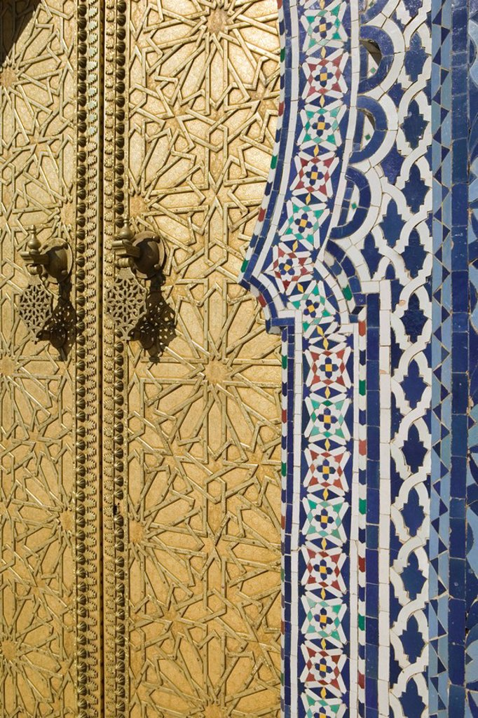 Stock Photo: 1558-134800 Morocco, Fes, Fes El Jedid, king-palace, door, detail, city, district, sight, culture, entrance, entrance, tiles, tiles, pattern, mosaic, ornaments, golden, Oriental, Moroccan, regional-typically gilds,