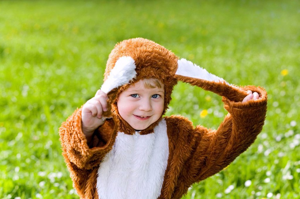 Stock Photo: 1558-134931 boy, disguise, Easter bunny, gesture, ears, semi-portrait, pulls series, people child 4-5 years blond childhood, happily, cheerfully, fun, outfit, hare-outfit, hare-ears little hare, little Easter bunny Easter, disguises, cleverly, meadow, outside,. boy, disguise, Easter bunny, gesture, ears, semi-portrait, pulls series, people child 4-5 years blond childhood, happily, cheerfully, fun, outfit, hare-outfit, hare-ears, Hasi, little hare, little Easter bunny, Osterhasi, Easter, disguises, cleverly,