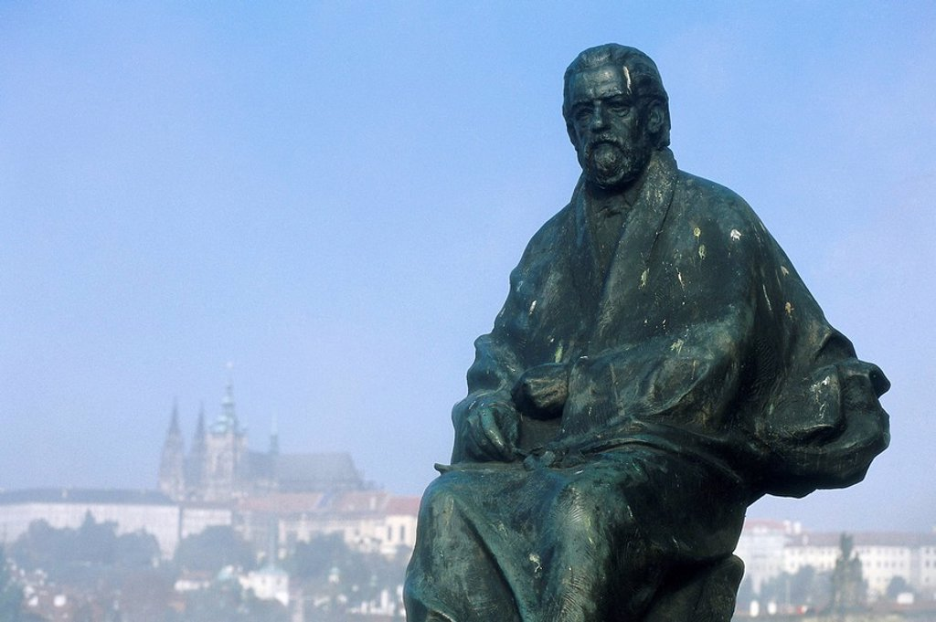 Czech republic, Prague, Smetana-Statue, detail, city view, Bohemia, city, statue, monument, bronze-statue, art, sculpture, sight, destination, tourism, city trip, : Stock Photo