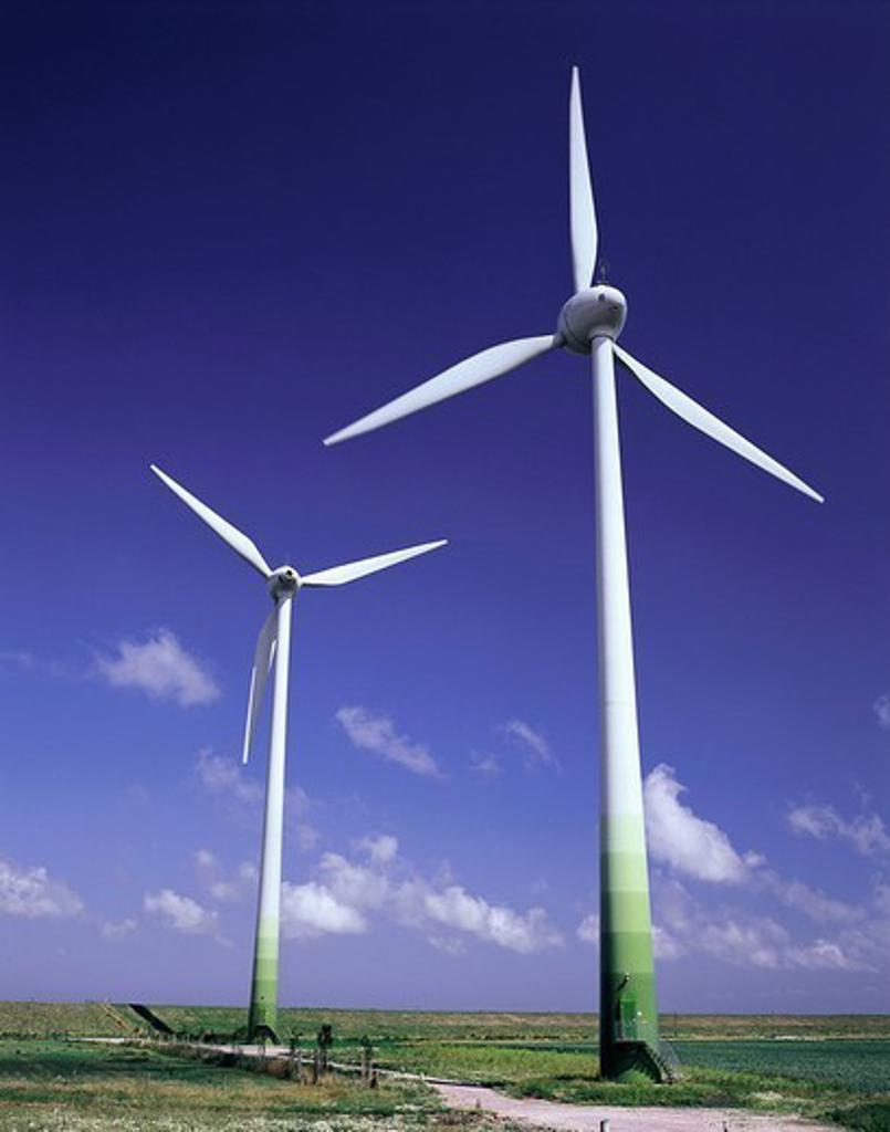 Germany, Lower Saxony, East Frisia, Neuharlingersiel, dike, wind-park, wind-wheels, clouded sky, summer, Northern Germany, North Sea*-coast, frieze-country, economy, wind-energy, wind-strength, energy, alternative-energy, current-energy, energy-production : Stock Photo