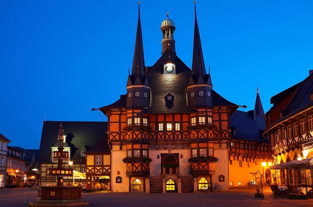 Germany, Saxony-Anhalt, Wernigerode, town hall, evening, illuminates, : Stock Photo