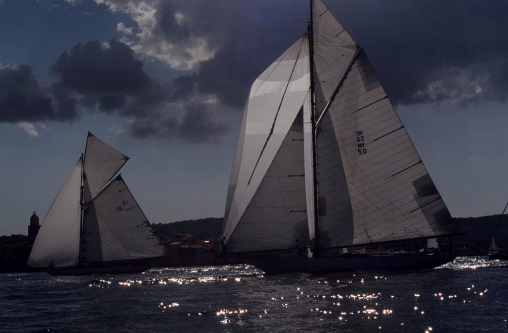 France, Cote d´Azur, St  Tropez, lake, sail-yachts, regatta, : Stock Photo